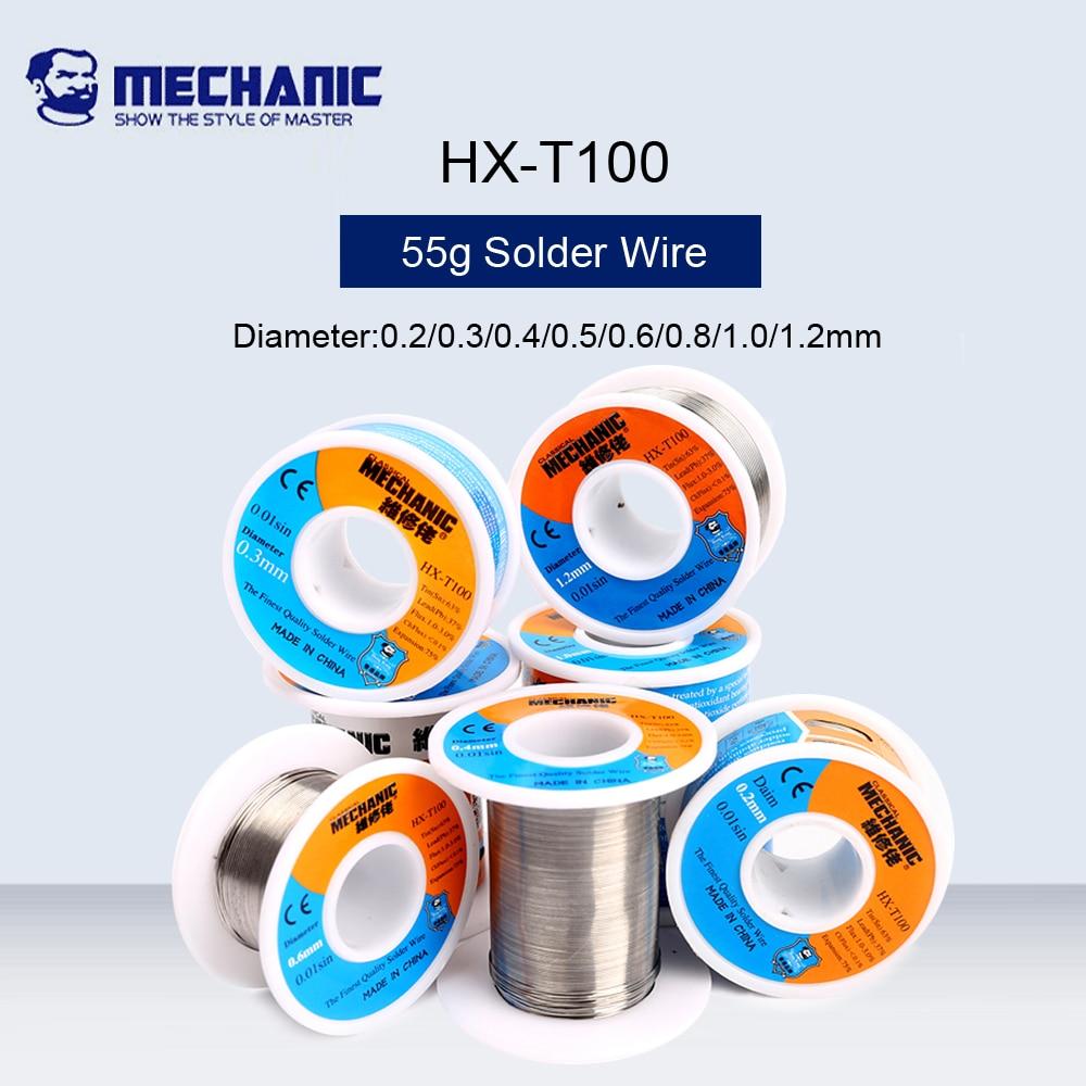 MECHANIC 55g Solder Silk Low Temperature Rosin Flux 0.2/0.3/0.4/0.5/0.6/0.8/1.0/1.2mm Solder Wire Sn63%pb37% For BGA Welding