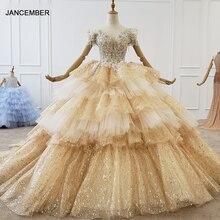 HTL1189 dubaï soirée robes de grande taille épaule chérie paillettes dorées formelle robe de soirée multicouche robe de fête