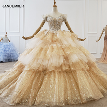 Htl1189 dubai vestidos de noite plus size fora do ombro querida dourado glitter formal vestido de festa multi camada