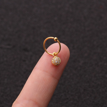 1 PCS Simple Small Micro Pave CZ Round Charm Ear Cuff Clip Earring Trendy Gold Color Steel Circle Ear Hoop Piercing Earring image