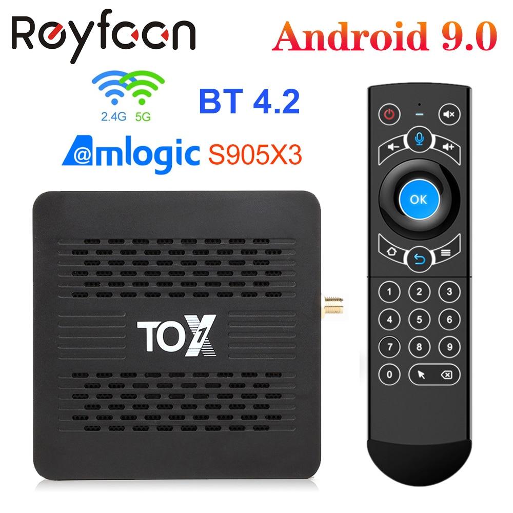 TOX1 Android 9,0 Смарт ТВ коробка, 4 Гб оперативной памяти, 32 Гб встроенной памяти, процессор Amlogic S905X3 5G двухъядерный процессор Wi-Fi 1000 м Поддержка BT 4,2 ...
