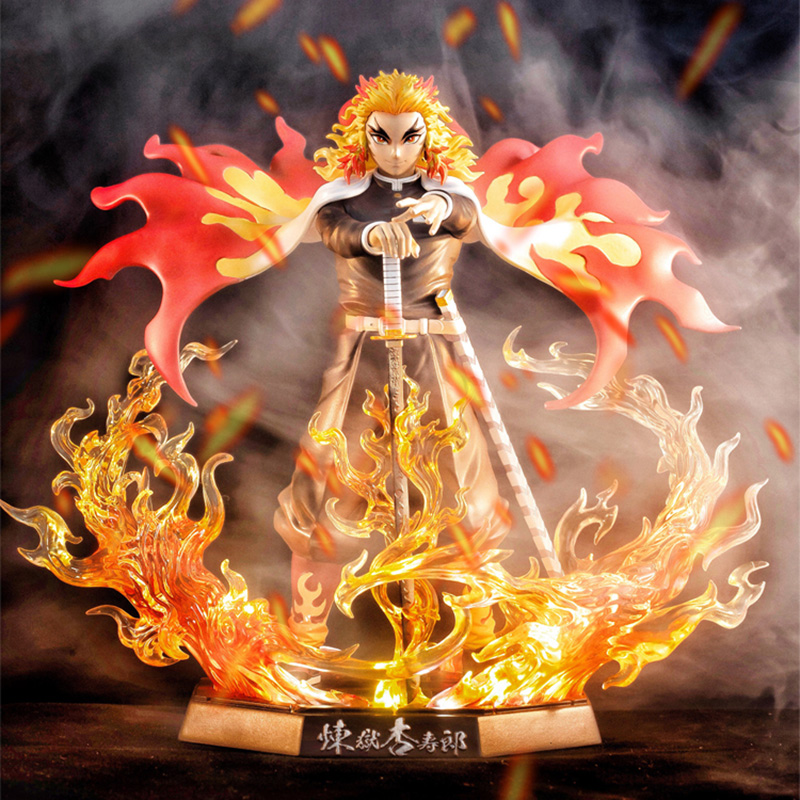 25cm Demon Slayer Rengoku Kyoujurou PVC Action Figures Toys GK Anime Kimetsu No Yaiba With Light PVC Figurine Toy