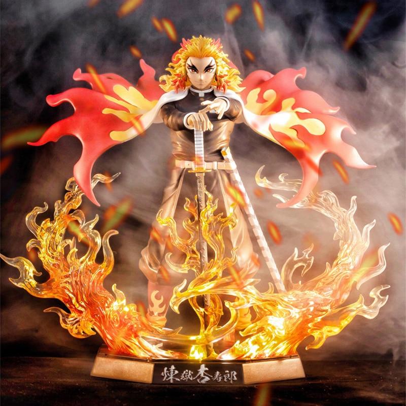 25cm Demon Slayer Rengoku Kyoujurou PVC Action Figures Toys GK Anime Kimetsu No Yaiba With Light PVC Figurine Toy