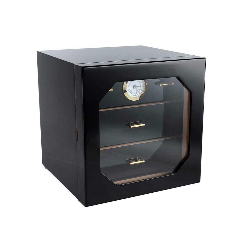 Boîte de rangement de luxe en bois de cèdre noir cave à cigares boîte de rangement hygromètre humidificateur 3 couches tiroirs ensemble de boîte à cigares décent