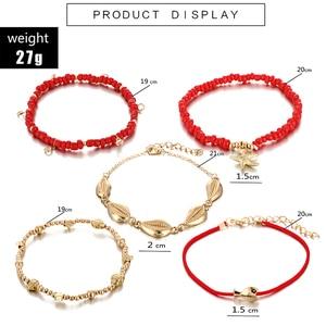 5 шт., набор ножных браслетов docona в стиле бохо с красными бусинами, многослойная подвеска с кристаллами в виде морской звезды, ножная цепочка,...