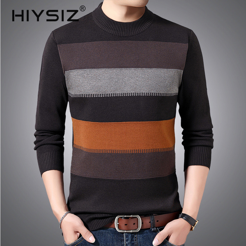 HIYSIZ Brand 2019 pullover warm striped pull sweaters winter plaid knitted casual pull homme sweater men H3018
