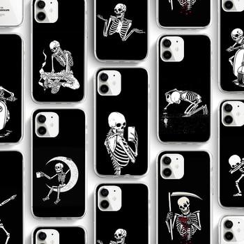 ciciber Funny Skull Phone Case For Iphone 11 Case For iPhone 11 Pro XR 7 X XS MAX 8 6 6S Plus 5S SE Silicone TPU Funda Cover ciciber dragon ball phone case for iphone 11 pro max xr x xs max tempered glass cover cases for iphone 7 8 6 6s plus funda coque