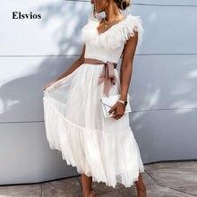 Women Elegant Butterfly Sleeve Summer Dress Fashion Tie-up Belt Lace Ruffle Party Dress Sexy V-Neck Mesh Sheer Beach Long Dress