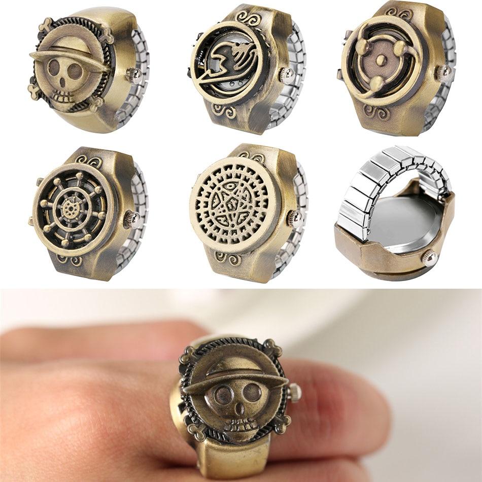 בציר יפני אנימה נושא גומייה טבעת שעונים קוורץ אצבע שעון אבזר תכשיטים