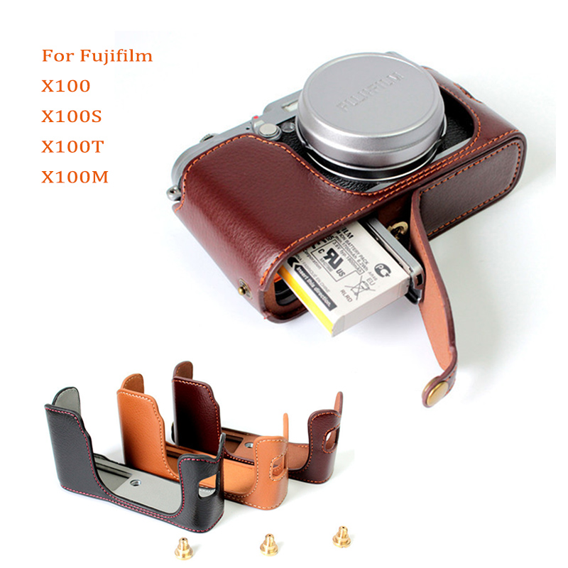 Genuine Leather <font><b>Case</b></font> camera bag cover for <font><b>Fuji</b></font> X100 <font><b>X100S</b></font> X100T X100M half shell protector with Battery Opening image