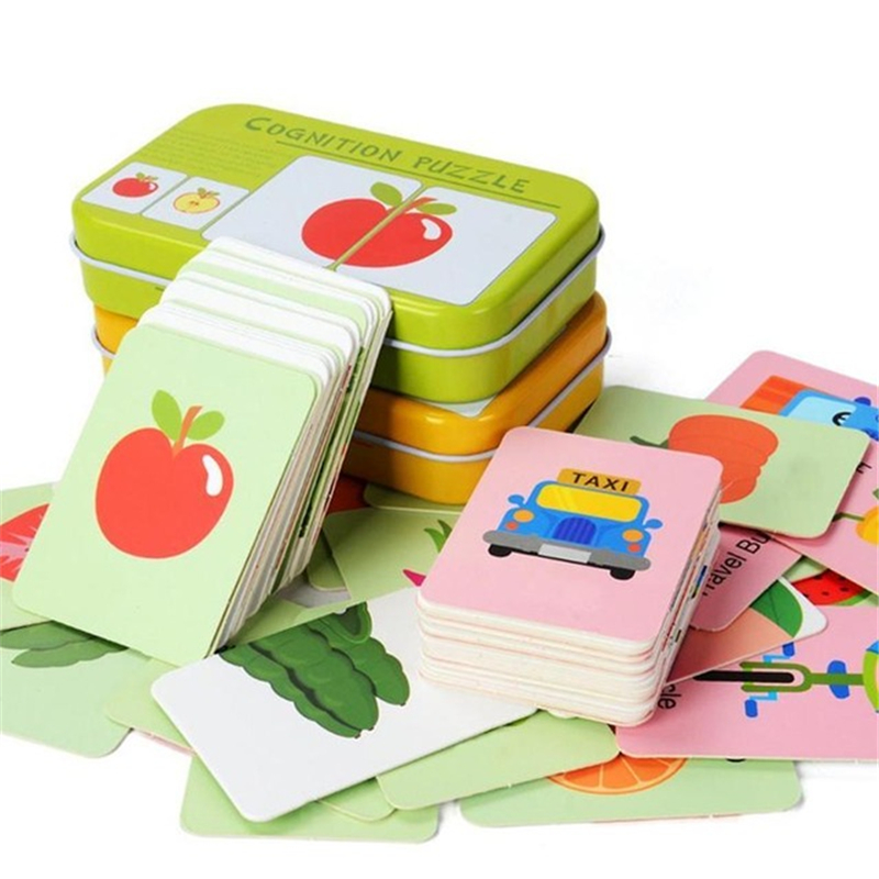 New Kids Education Fun English Word Pocket Flash Card Baby Learning Educational English Table Game Children Puzzle Toys