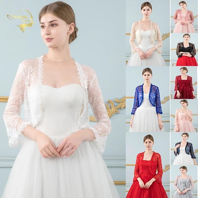 Red Lace Wedding Top Jacket Bridal Wraps Shrugs for Women For Evening Dress Bride Bolero Cape De Mariage Wedding Accessories