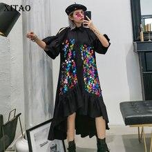 XITAO Irregular Patchwork Sequin Dress Women Clothes 2020 Summer New Fashion Cas
