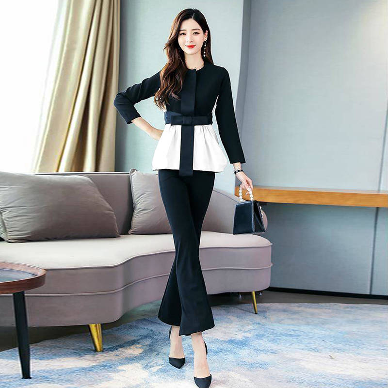 H22324894bf674a9abfc67f12ab9536b7m - Spring Korean Elegant Black And White Patchwork 2 Piece Set Women Fashion Womens Outfits Plus Size Clothing
