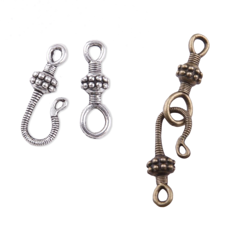 20sets Antique Bronze Silver Color Flower Hook Connector Toggle Clasp For Jewelry Making Diy Bracelet Necklace Accessories