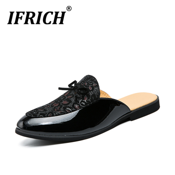 Popular Summer Man Half Drag Flats Shoes Black Slip on Shoes for Men Brand Fashion Lazy Mens Shoes Breathable Men Half slippers 2020 summer cool rhinestones slippers for male gold black loafers half slippers anti slip men casual shoes flats slippers wolf