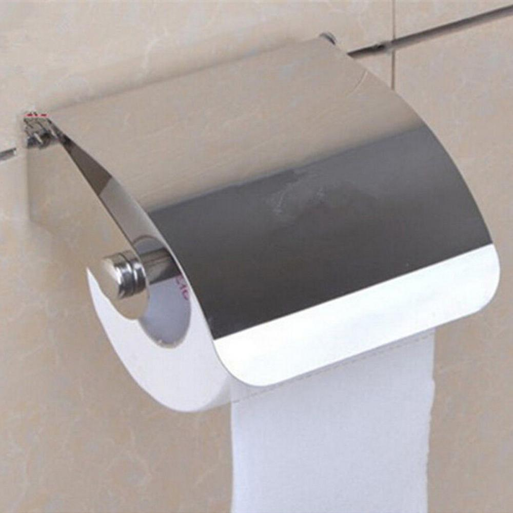 1x Stainless Steel Bathroom Toilet Paper Holder Roll Tissue Box Wall Mounted Holder Waterproof Bath Tissue Container Boxes