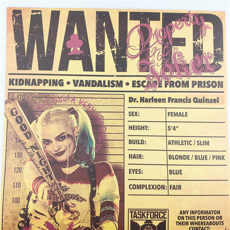 빈티지 해리 퀸 구함 광대 포스터 룸 장식 스티커 벽 장식 그림 크래프트 종이 홈 장식 벽 스티커 영화 포스터
