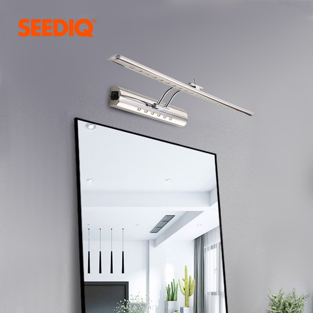 Led Wall Lamp 9W 55CM AC 90-265V Stainless Steel Waterproof Bathroom Light Mirror Wall Mounted Sconce Wall Lights With Switch