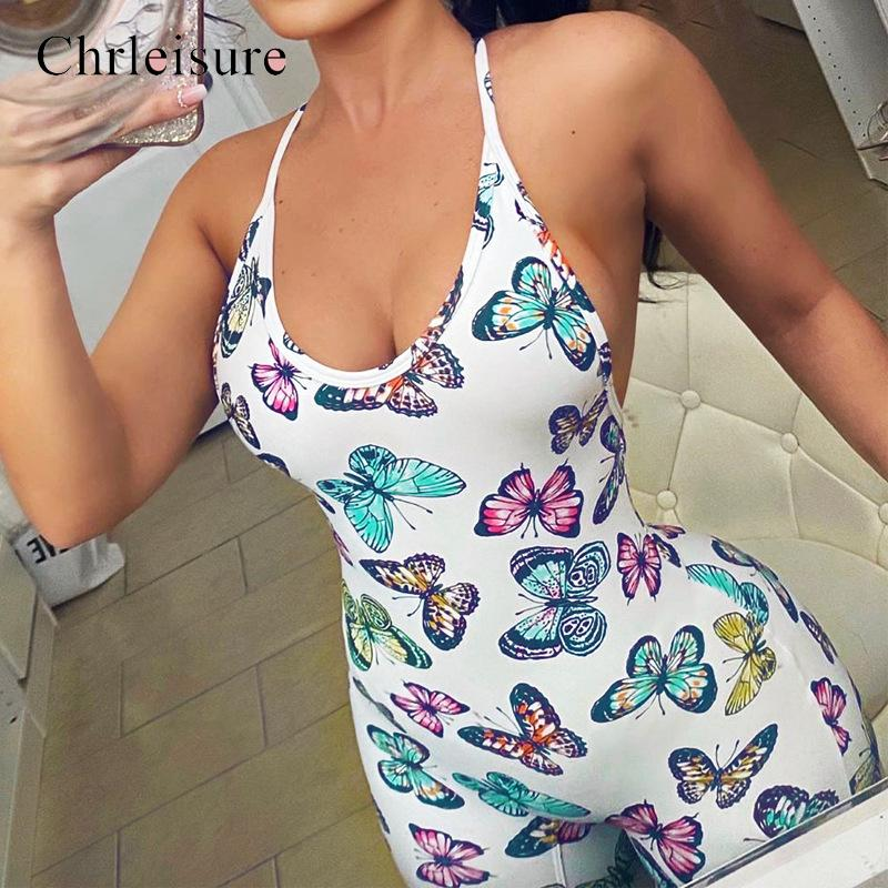 Butterfly Jumpsuit Women Insects Printing Bodysuit Sexy Lace Up Jumpsuits Fashion Summer Backless Women Bodycon Body Femme