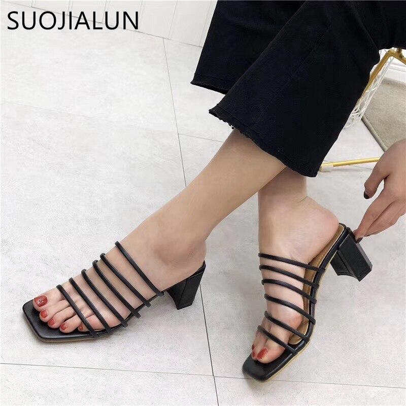 SUOJIALUN Women High Heels Slipper Slip On Square Heel Women Summer Outdoor Sandal Fashion Thin Strap Women Slipper Elegant Shoe