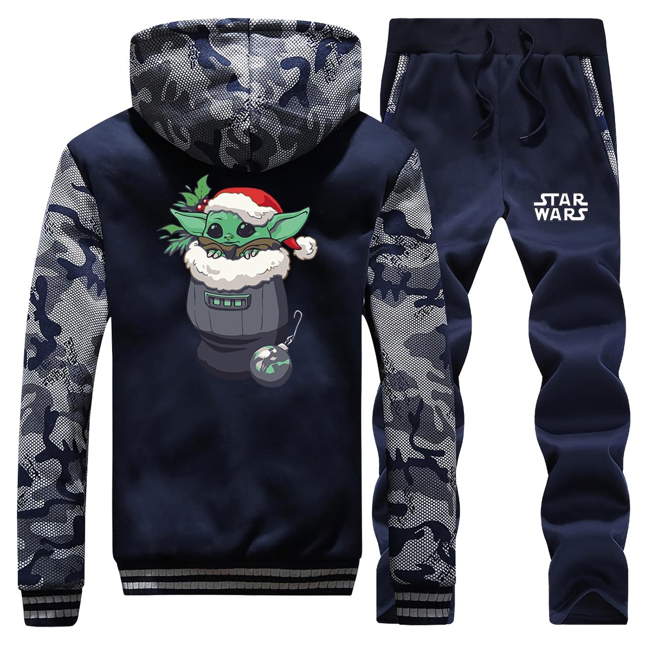 Men Thick Winter 2 Pieces Sets Baby Yoda Fleece Warm Jacket Coat Mandalorian Coats Hoodies Sweatshirts Mens Star Wars Jackets