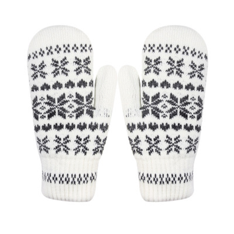 Fashion Knit Gloves Men/Female Winter Warm And Finger Gloves Snowflake Pattern Christmas Theme Double Cold Belt White Gloves D74