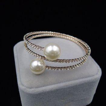 Trendy Rhinestone Silver Plated   pearl bracelet 4