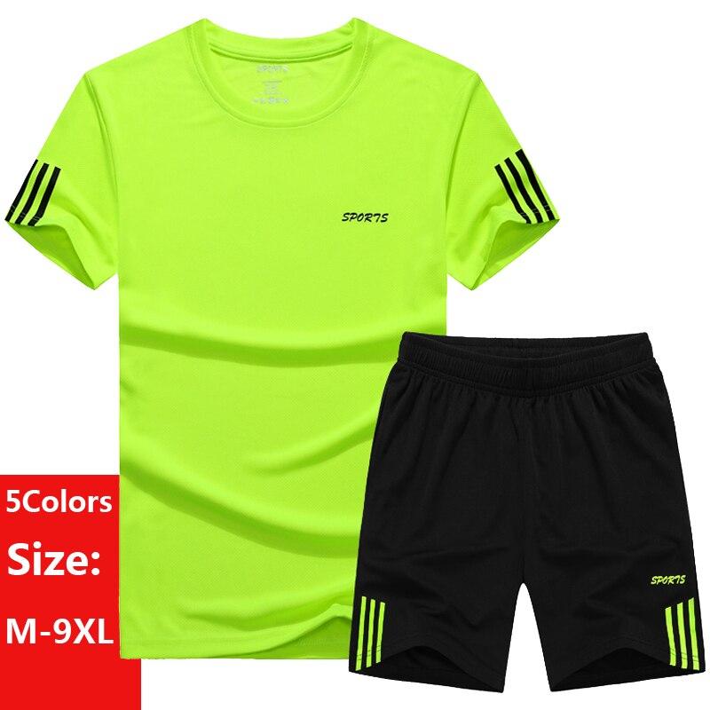 Большие размеры 5XL, 6XL, 7XL, M-9XL, мужские повседневные комплекты, 2020, летний спортивный костюм, мужская спортивная одежда, комплект из 2 предмето...