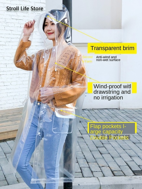 Transparent Long Rain Coat Women Adult Hiking Clear Raincoat Lengthened  Electric Motorcycle Rain Suit Poncho Plastic Suit Gift 4
