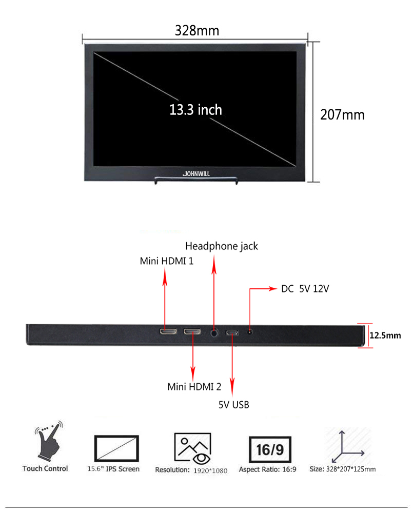 13.3 inch ips hdmi Portable monitor touch screen 2K for Raspberry Pi PC PS4 Xbox 360 1080P  LCD LED Display switch cctv