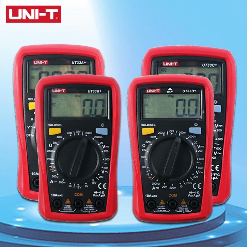 Aletler'ten Multimetreler'de UNI T UT33A + UT33B + UT33C + UT33D + dijital multimetre AC DC akım direnç + 2mF kapasite NCV Tester LCD arka aydınlatmalı title=