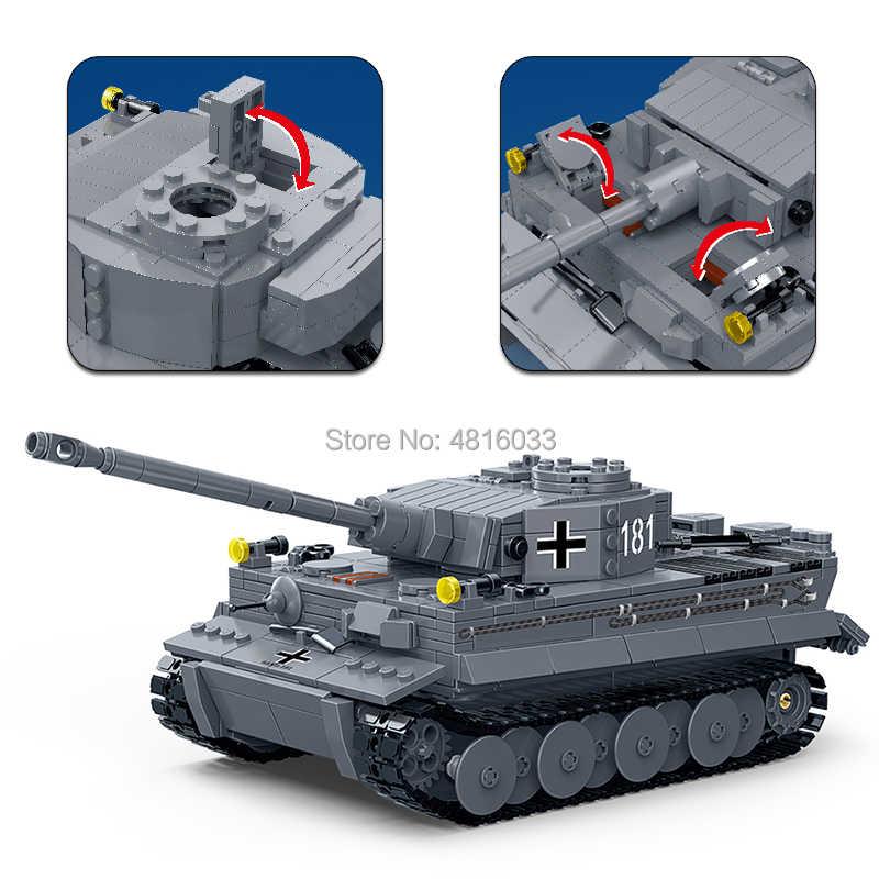 1:28 Alemão King Tiger I Tanque Compatível legoingly ww2 Guerra Mundial Militar Do Exército de Mini Figuras com Armas Building Block Brinquedos Para menino