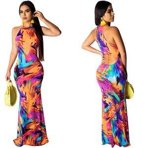 Image 2 - Zarif kadın Boho çiçek baskı Halter bahar ziyafet uzun elbise seksi Backless akşam parti elbiseler Casual vestidos