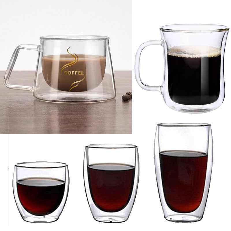 Podwójna warstwa kubek do kawy szklana ścianka izolowana kubek na mleko kawę kubek z uchwytem dla ciepłej zimnej napojów izolacja cieplna biuro