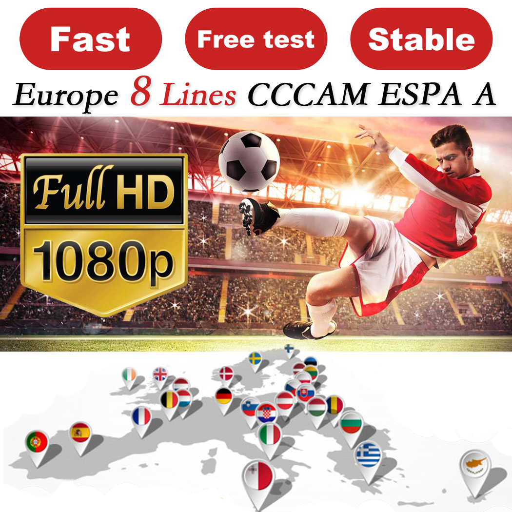 CCCAM ESPA Cline для 1 года Европа 8 клитов Oscam стабильный Ccam ESPA сервер Испания Португалия Германия Польша рецептор спутниковый