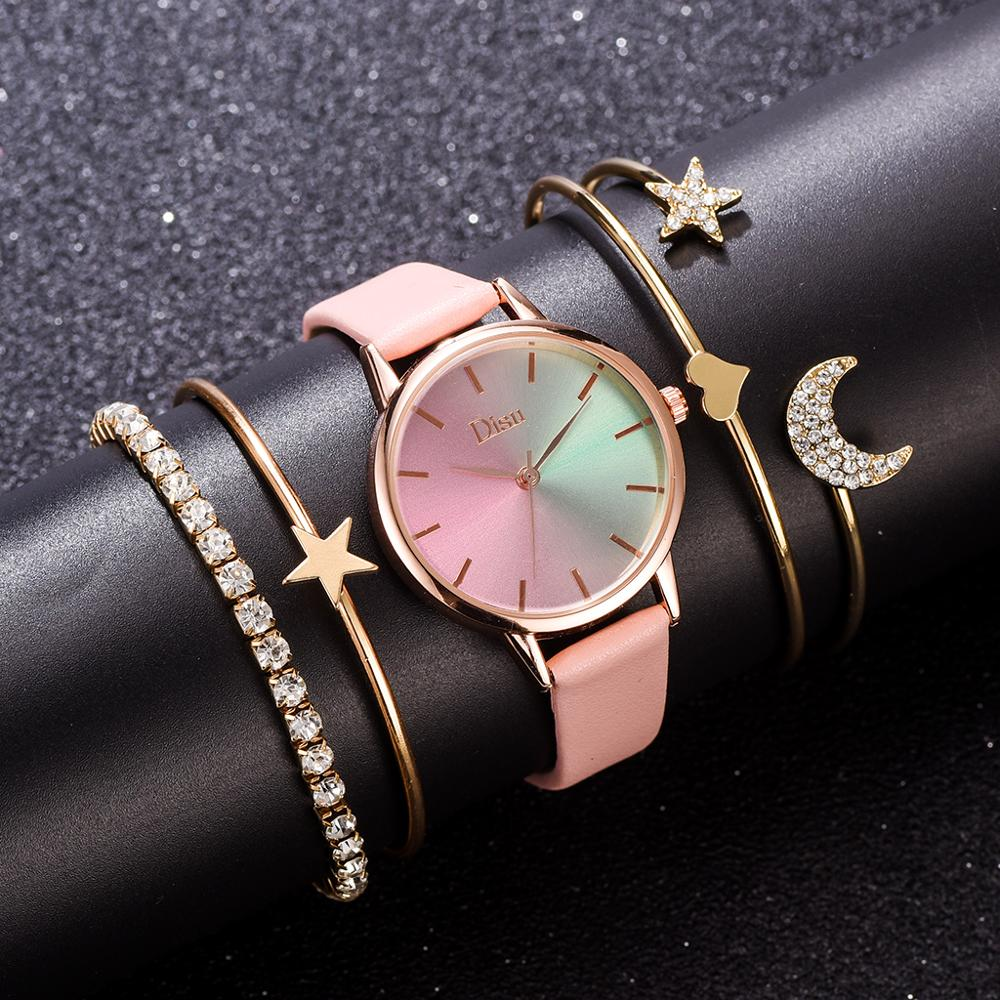 5pcs Women Watch Set Colorful Dial Leather Ladies Dress Bracelet Set Woman Quartz Wristwatch Luxury Pink Watch Relogio Femenino