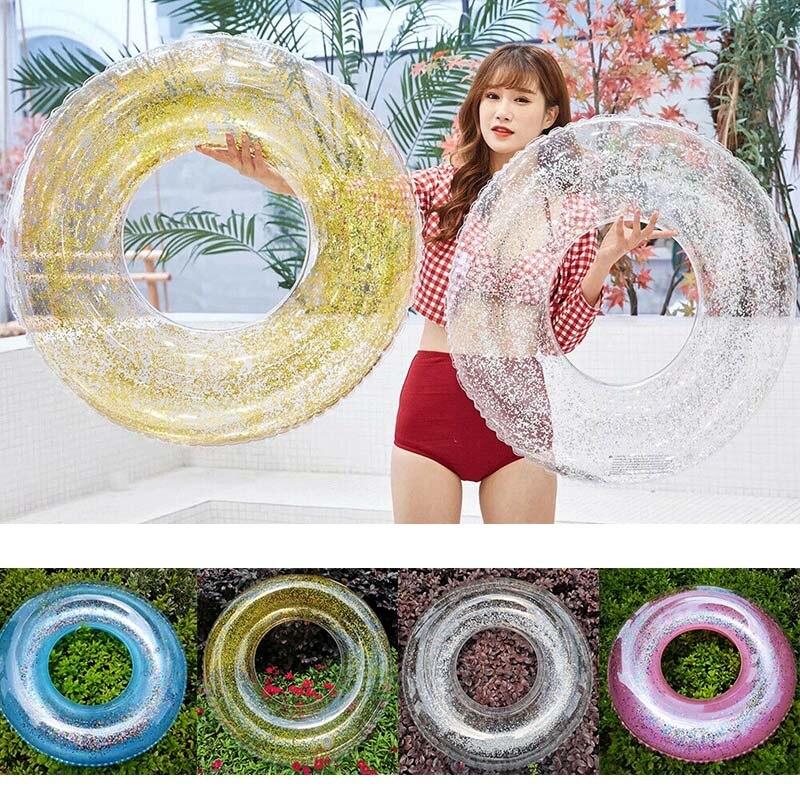Transparent Inflatable Swim Tube Glitter Raft Round Swim Ring For Summer Pool BM88