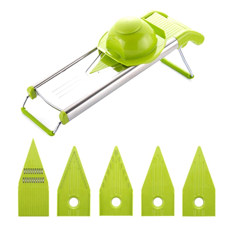 Professional <font><b>Multifunctional</b></font> V-Slicer Mandoline Slicer <font><b>Food</b></font> <font><b>Chopper</b></font> Fruit&Vegetable Cutter with 5 Blades <font><b>Kitchen</b></font> <font><b>Tools</b></font> Green image