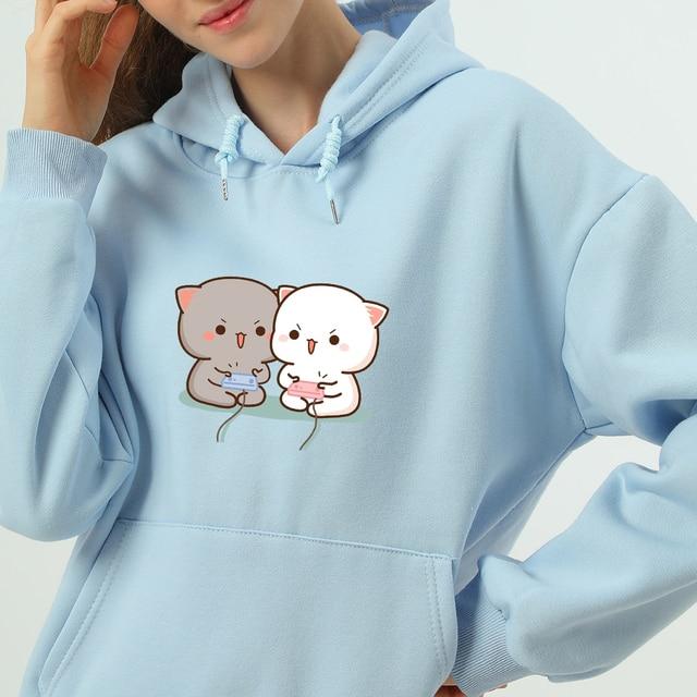 Cute Cat Printed Hoodies Women Autumn Loose Sweatshirt Female Itself Harajuku Kawaii Hooded Pullover Thicken Couple Coat 1