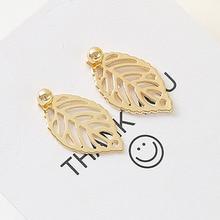 2019 Real Special Offer Spike Aros Oorbellen Earrings Korean Temperament Simple Retro Ear Nail Mini-fresh Leaf Pendant Jewelry