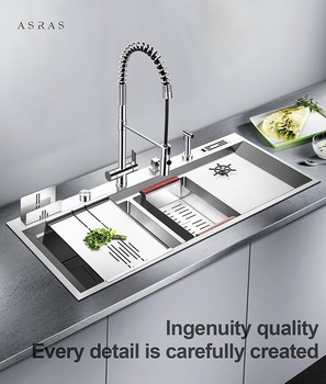 цена на Asras 12050P  304 luxury handmade kitchen sink defrosting water sprinkler with tap accessories drainer free shipping DHL