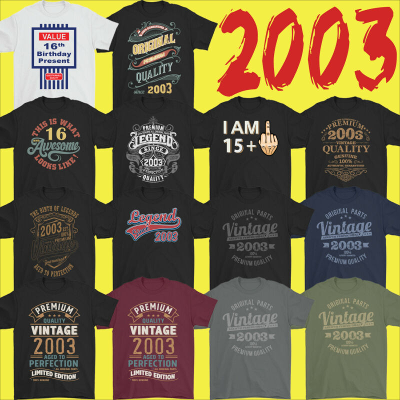 17th Birthday T-Shirt 2003 Mens For An 17 Year Old Vintage Year Premium Quality