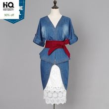 Blauw Sexy Elegante Vrouwen Denim Dress 2020 Runway V-hals Backless Roes Midi Jurk Dames Half Mouw Jeans Jurken Vestidos(China)
