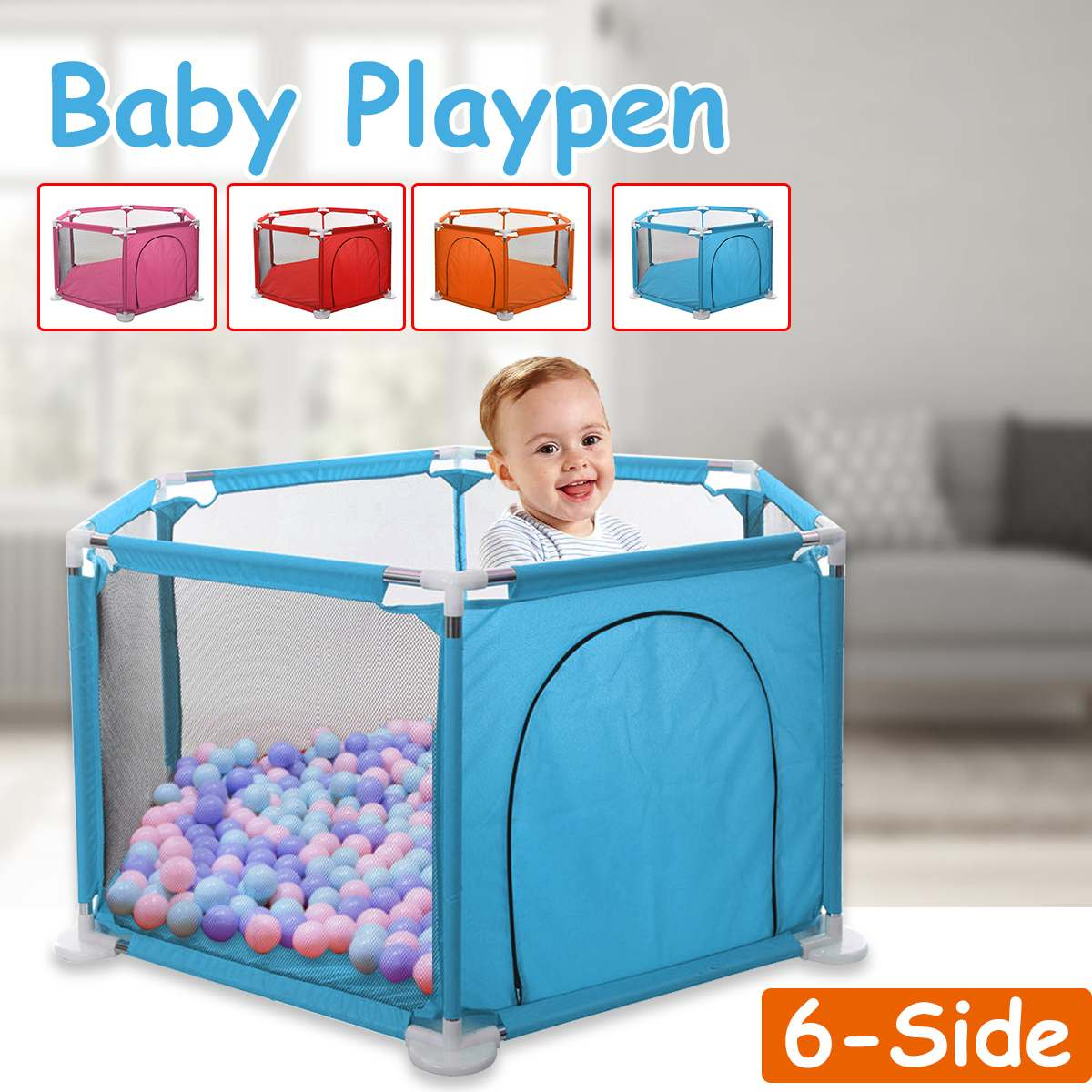 Baby Playpen Interactive Kids Play Playard Game Pool Sponge Ball Ocean Ball Safety Gate 6 Panel Fence For Kids Baby