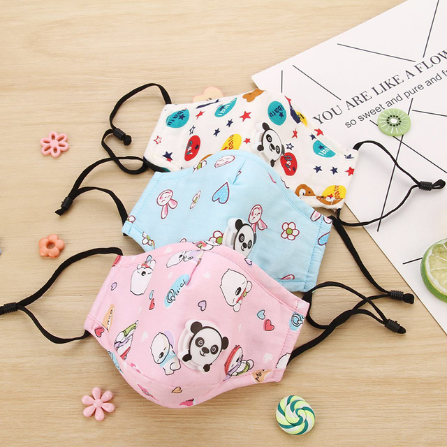 3 PCS Cartoon PM2.5 Children Mask With 6 Filters Breath Valve Mouth Face Mask Kids Washable Mask Dust-proof Sterile In Stock 3