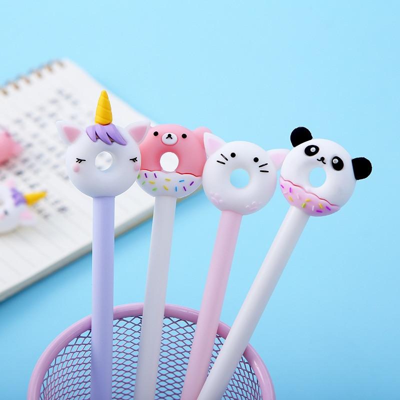 4pcs Cookie Donuts Gel Pen Ballpoint Black Color Ink Pens Cute Bear Panda Unicorn Cat Girl Gift Office Signature School F122