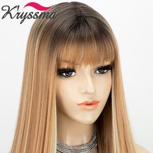 Image 4 - Perucas sintéticas longas retas com franja destaque mel loira ombre cosplay perucas para mulheres preto marrom raiz peruca resistente ao calor