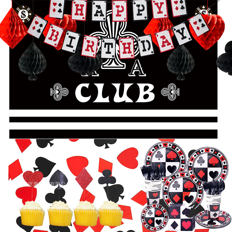 Birthday Decoration Poker Theme Party Background Banner Casino Night Playing Cards for Birthday Party Decoration ww06(China)