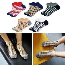 LIONZONE Plaid Beard Men Socks Short Funny Summer Winter Cotton Fashion Unisex Happy Male Gifts